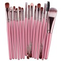 Sankuwen 15PCs Wool Makeup Brush Set Tools Toiletry Kit (Pink-Coffee)