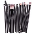 Sankuwen 15PCs Wool Makeup Brush Set Tools Toiletry Kit (Black-Black)