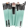 Sankuwen 15PCs Wool Makeup Brush Set Tools Toiletry Kit (Green-Black)