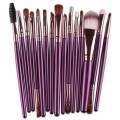 Sankuwen 15PCs Wool Makeup Brush Set Tools Toiletry Kit (Purple-Coffee)