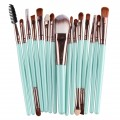 Sankuwen 15PCs Wool Makeup Brush Set Tools Toiletry Kit (Blue-Coffee)
