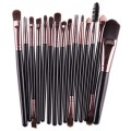 Sankuwen 15PCs Wool Makeup Brush Set Tools Toiletry Kit (Black-Coffee)