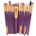 Sankuwen 15PCs Wool Makeup Brush Set Tools Toiletry Kit (Purple-Gold)