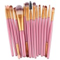 Sankuwen 15PCs Wool Makeup Brush Set Tools Toiletry Kit (Pink-Gold)