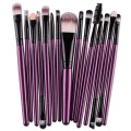 Sankuwen 15PCs Wool Makeup Brush Set Tools Toiletry Kit (Purple-Black)