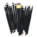 Sankuwen 15PCs Wool Makeup Brush Set Tools Toiletry Kit (Matte Black-Matte Black)