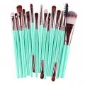 Sankuwen 15PCs Wool Makeup Brush Set Tools Toiletry Kit (Sky Blue-Coffee)