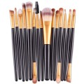 Sankuwen 15PCs Wool Makeup Brush Set Tools Toiletry Kit (Black-Gold)