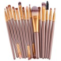 Sankuwen 15PCs Wool Makeup Brush Set Tools Toiletry Kit (Gold-Gold)
