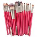 Sankuwen 15PCs Wool Makeup Brush Set Tools Toiletry Kit (Red-Gray)