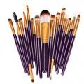 Sankuwen 15PCs Wool Makeup Brush Set Tools Toiletry Kit (Purple-Gold)