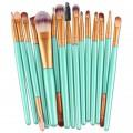Sankuwen 15PCs Wool Makeup Brush Set Tools Toiletry Kit (Sky Blue-Gold)
